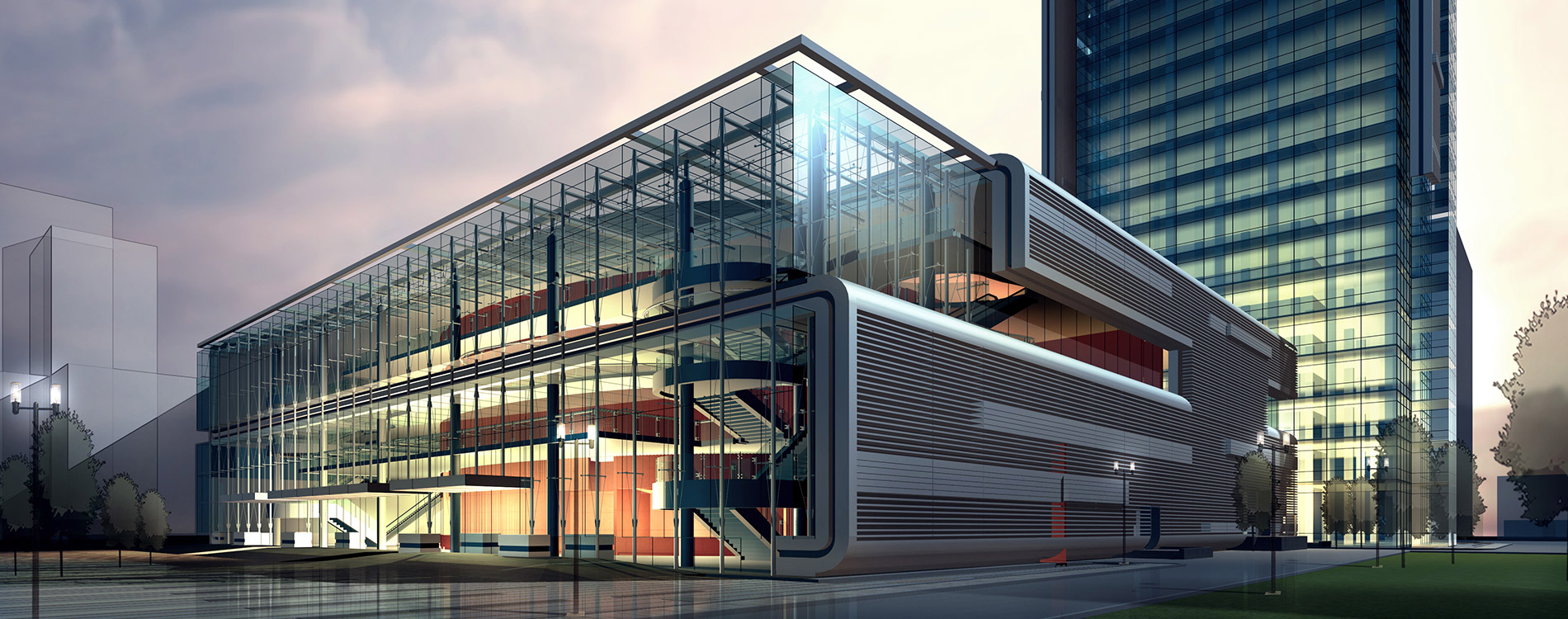 Rendering of a Modern Building